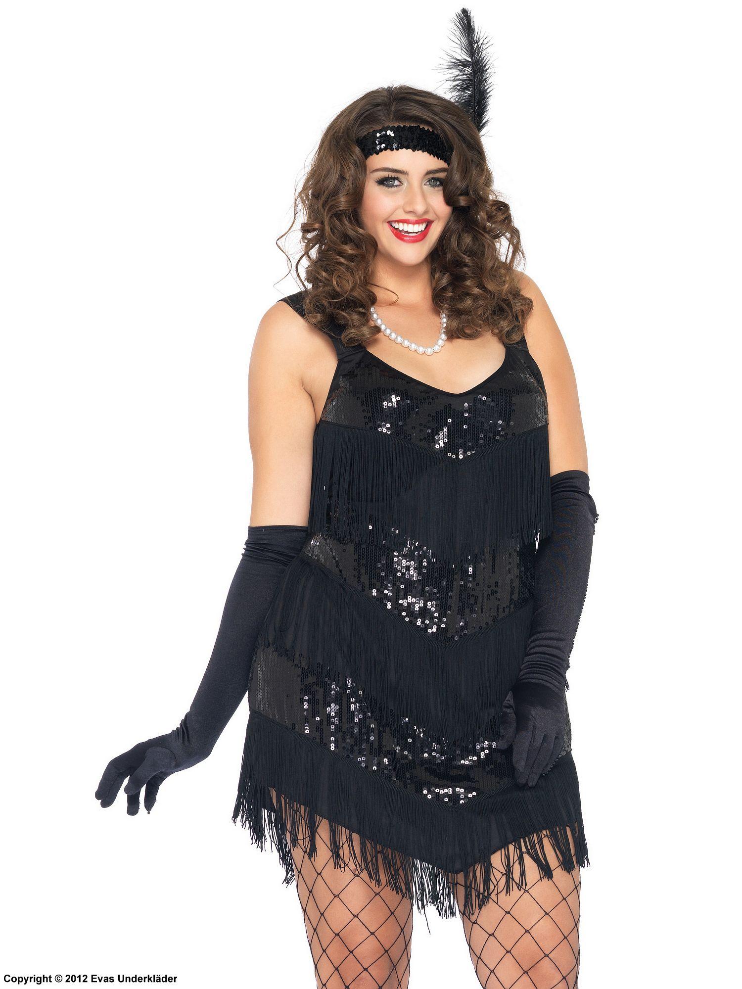 01615f7b0f0a 20-tals klänning med fransar och paljetter, maskeradkläder, plus size